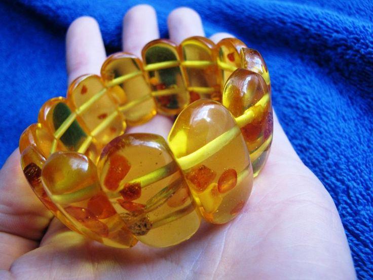 Natural Baltic Amber 41 gr bracelet Honey cognac Butterscotch 老琥珀 USSR #Handmade