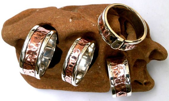 Unisex Band Ring Sterling Silver with Copper Ring handmade