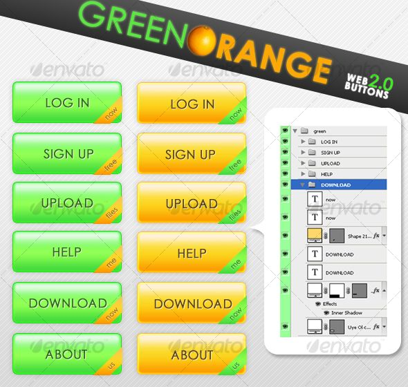 Green Orange Web 2.0 Buttons - #Buttons Web Elements Download here: https://graphicriver.net/item/green-orange-web-20-buttons/63713?ref=alena994