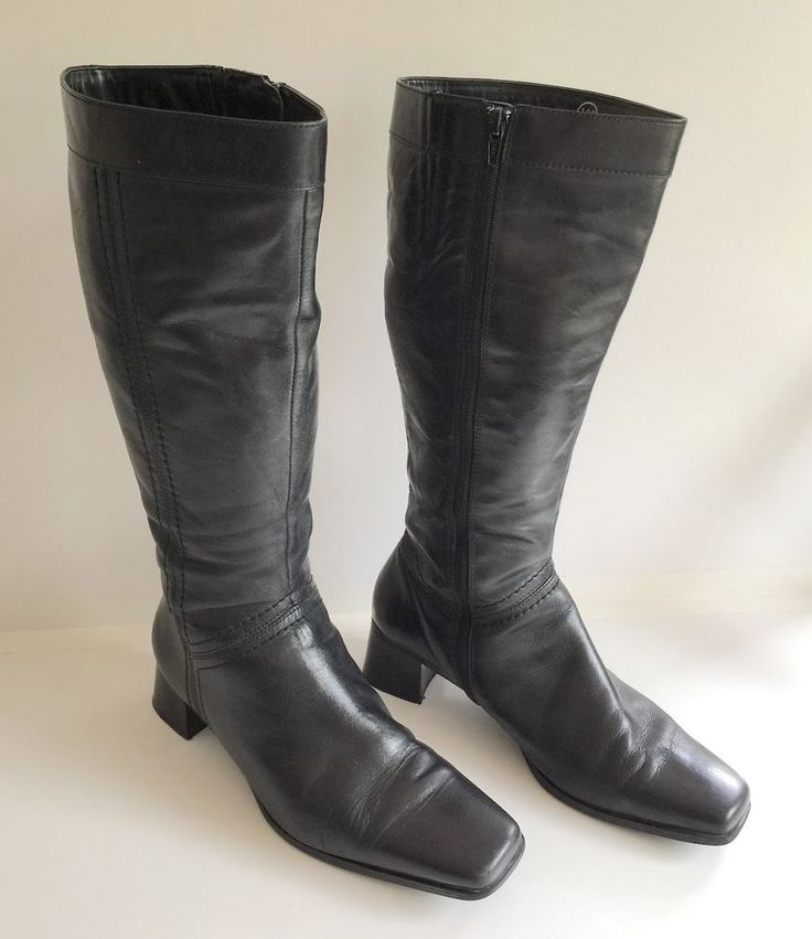 Easy Steps Revital Black Leather Long Boots with Zip Size 10C