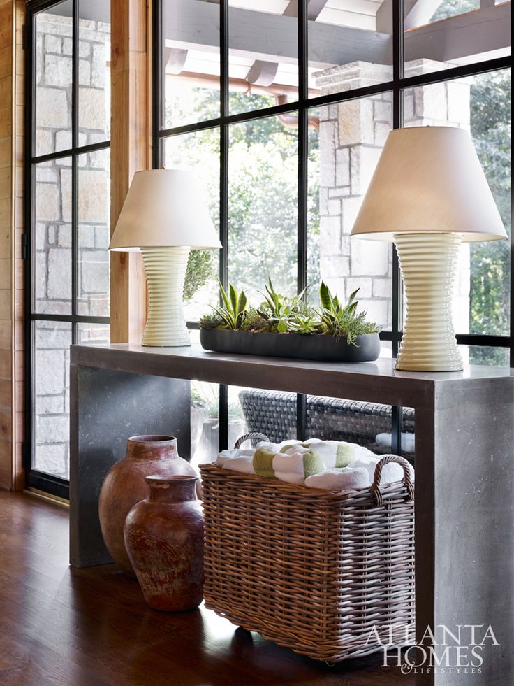 High Quality A Long, Low Plant + Two Lamps   Simple Way To Accessorize A Console Table.  (Use Baskets For Open Storage Underneath. Photo Gallery