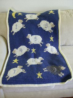 Counting Sheep Afghan free pattern easy to do in single crochet with charts