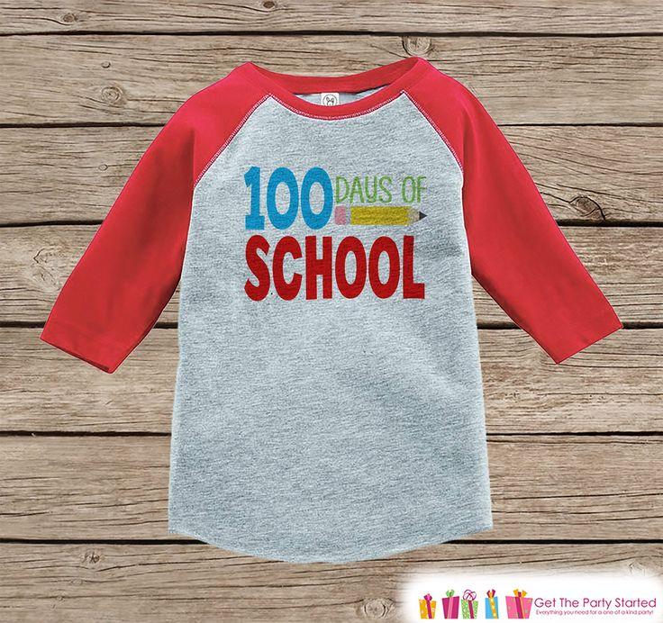 100 Days of School Shirt - Boys 100 Days of School Shirt - Kids School Outfit Red Raglan Tee - Boys 100th Day of School T-shirt