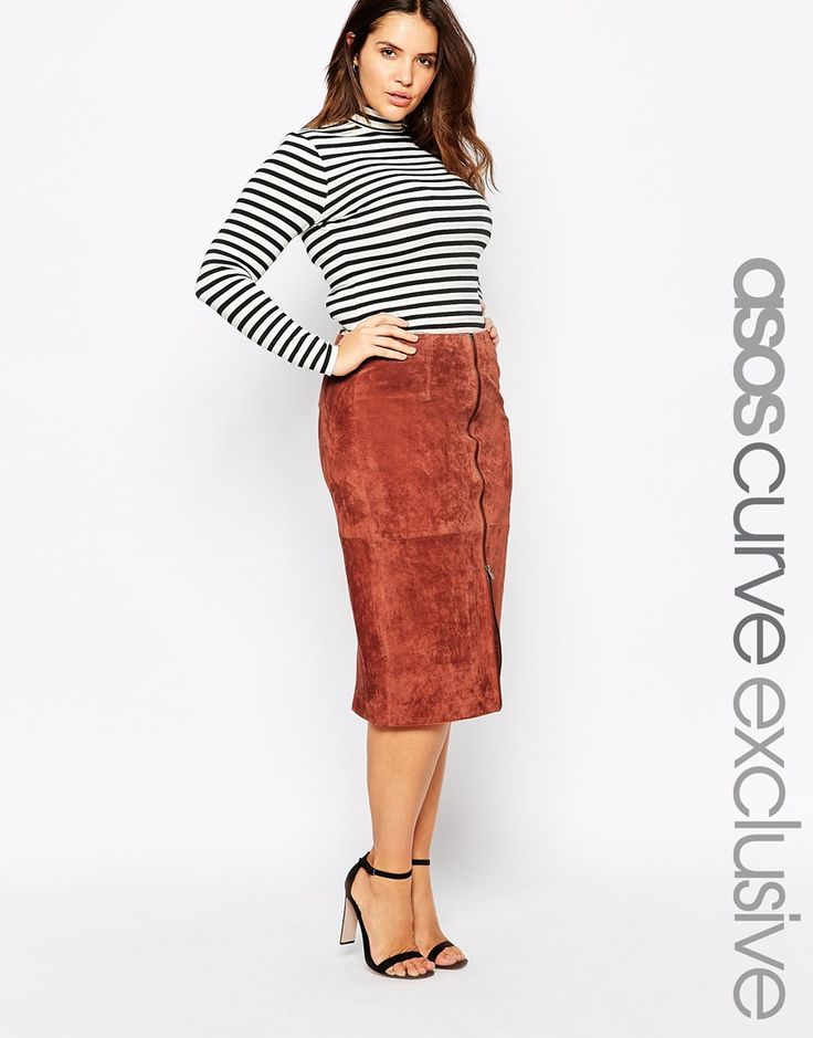 Image 1 ofASOS CURVE Pencil Skirt In Suede