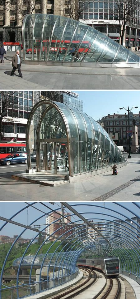"Metro Bilbao (Basque Country - Spain) Bilbao, a small city in the Basque region, is proud of their subway system, not only because of its speed and efficiency, but also because of its design. Norman Foster, the architect who did the Reichtag in Berlin, the Gherkin in London, and the world's largest airport in Hong Kong, designed Bilbao's metro stations. The entrances are especially unique. Nicknamed ""el Fosterito,"" the entrances are glass round tubes that emerge to the street level."
