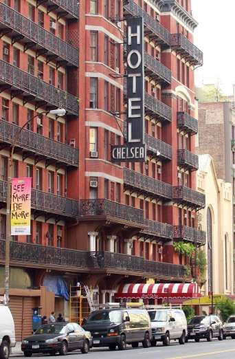 Hotel Chelsea, USA ~~ It's rare that celebrity guests don't kick up a fuss when their hotel is closed for renovations, not so in the case of Hotel Chelsea in New York. Supernatural inhabitants are said to include Dylan Thomas (who died of pneumonia while staying here in 1953) and Sid Vicious (who stabbed his girlfriend Nancy Spungeon to death here in 1978). The ghost of American novelist Thomas Wolfe is also said to haunt the eighth floor.