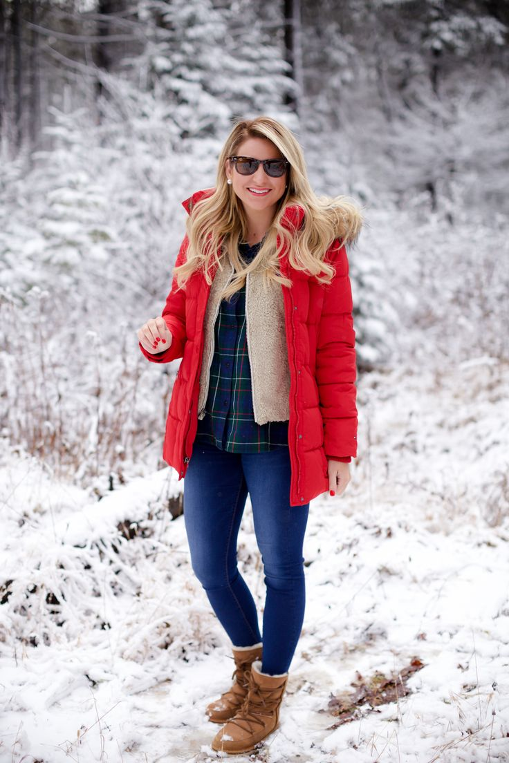 Red puffer snow coat with plaid shirt patagonia soft vest and ugg boots-4