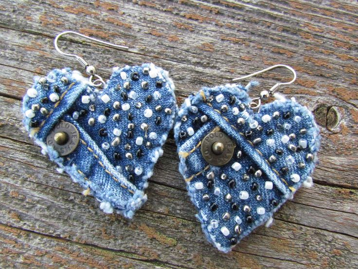 Earring - Heart-Shaped, Recycled Polo Jeans Denim - Hand-Beaded - Upcycled. $15.00, via Etsy.