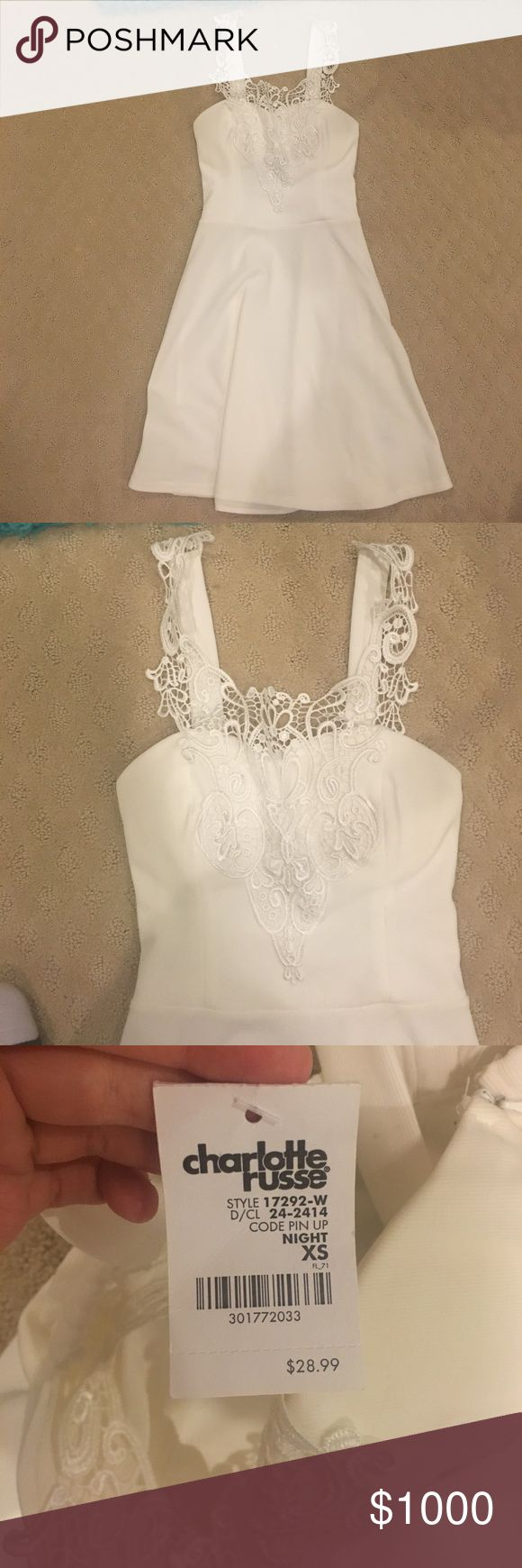 NWT Charlotte Russe White Summer Dress Beautiful dress! Was small on me which made it appear see through. May want to wear a tight white skirt under it or shorts. Should work fine if you wear the correct size. Charlotte Russe Dresses Mini