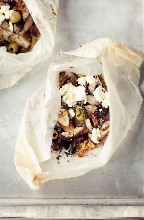 Baked Mushrooms with Couscous, Olives and Goats Cheese