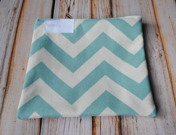 Reusable Snack Bags With Zipper Closure Vintage Blue And