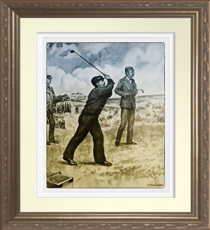 1905 Fisherman Playing Golf - Archival Print.  1905 Fisherman Playing Golf at Sandwich against Mr Balfour. Printed on Archival Heavyweight Paper. One for the golfer's wall https://www.zazzle.com/1905_fisherman_playing_golf_archival_print-228941277815829695 #golf #art #print #vintage #history
