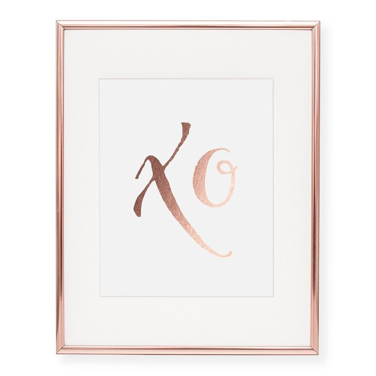 """""""xo"""" Real Rose Gold Pink Foil Art Print 