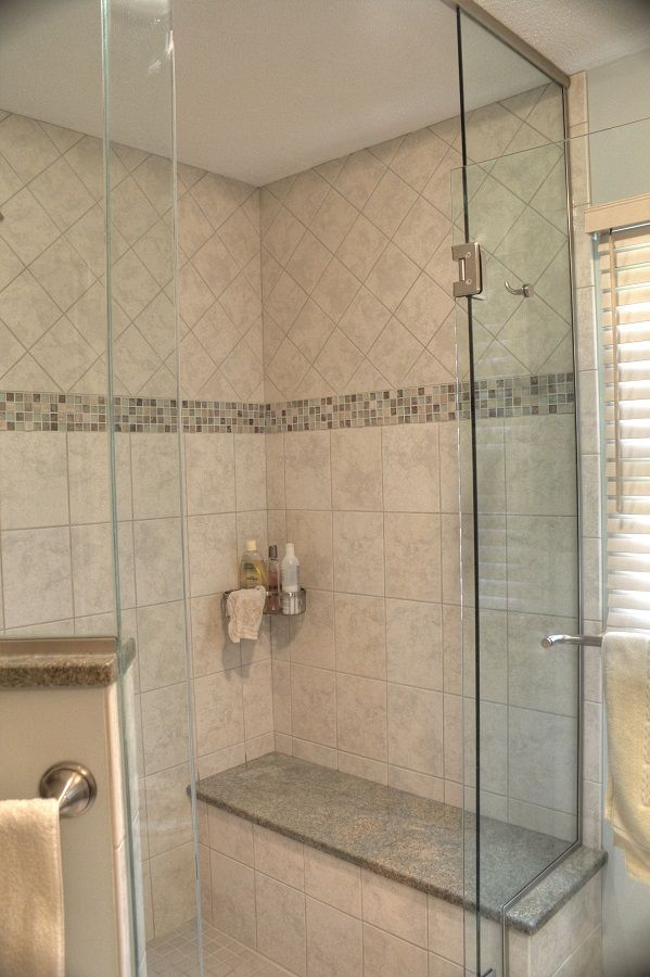Shower Ideas   Custom Tile Shower With Bench Seat With Granite Top/