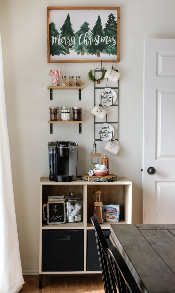 25+ DIY Coffee Bar Ideas for Your Home (Stunning Pictures ... Kitchen Coffee Bar Ideas Christmas on s'mores buffet ideas, brown kitchen cabinets ideas, home coffee station ideas, kitchen library ideas, s'more dessert ideas, bar top kitchen ideas, kitchen alcohol bar ideas, kitchen buffet ideas, small bar ideas, kitchen cafe ideas, cocoa bar ideas, kitchen breakfast bar ideas, coffee house decor ideas, kitchen garden ideas, kitchen bistro ideas, kitchen utensil drawer organizers, kitchen wine ideas, kitchen gifts ideas, kitchen lounge ideas, building your own bar ideas,