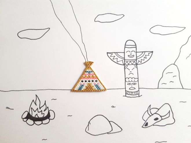 Reproduction of the colorful tepee by Rose Moustache, one of the most famous Miyuki pearls bead pattern maker :)