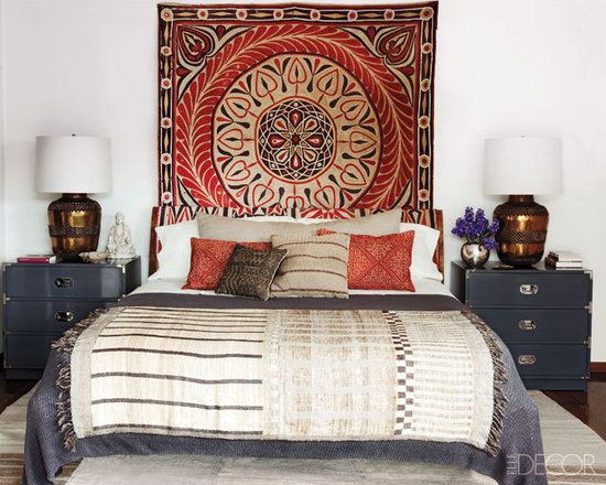 A Texture Adventure: Playing with visually engaging prints and textures keeps the eye moving and energizes a room. Ellen Pompeo's Hollywood Hills bedroom draws upon Indian, Egyptian, and West African designs for a bed that we'd want to luxuriate in for hours.  Photo courtesy of Elle Decor