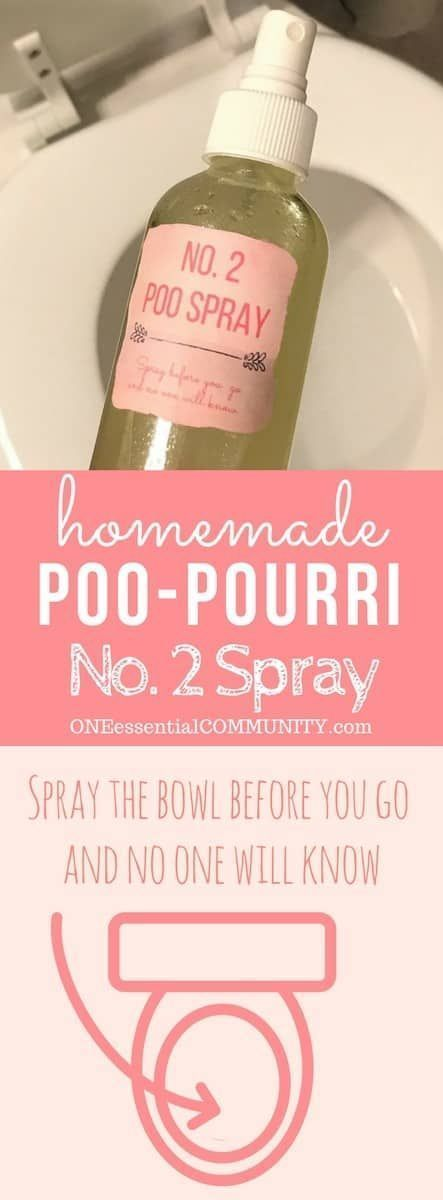 "DIY ""Before You Go"" Poo-Pourri No. 2 Toilet Spray -- natural, cheap, and easy to make, but best of all - it really works! Give the toilet bowl a few quick sprays before you go and the odors will be trapped discreetly inside the toilet bowl and flushed away. Simple to make with only 2 ingredients plus essential oils. 8 scents - floral to citrus, warm fall scents and holiday aromas. #essentialoils #essentialoilrecipes #homemadepoopourri #essentialoilsprays #DIYpoopourri #easyDIY"