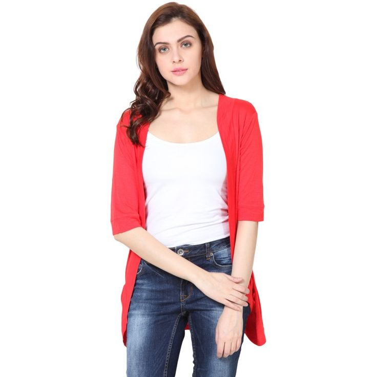 Red pocket long #shrug #ladiesfashion #style #trendy #onlineshopping #sale #discount  http://goo.gl/YrBlg4
