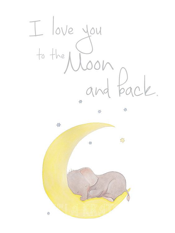 Elephant Nursery Art,Stars Nursery Art,Moon Nursery Art,Nursery Typography Art,Elephant Stars Moon Nursery,Stars Typography,Moon Typogtaphy