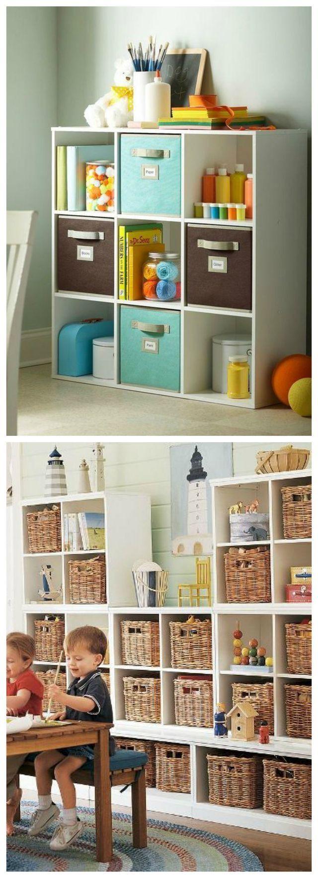 Cajas organizadoras de juguetes, cuarto de juegos, estanterías