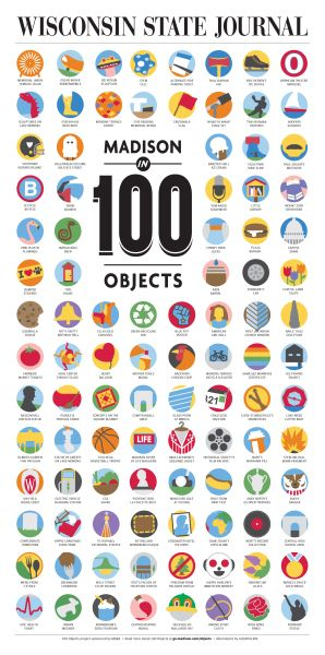 Wisconsin State Journal - Madison in 100 Objects #illustratedcovers #multiphotopages #b&w-with-colour