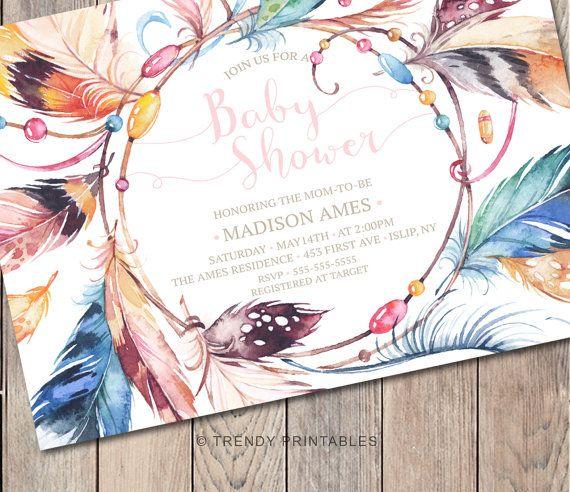 Baby Shower Invitation Boho Baby Shower by TrendyPrintables