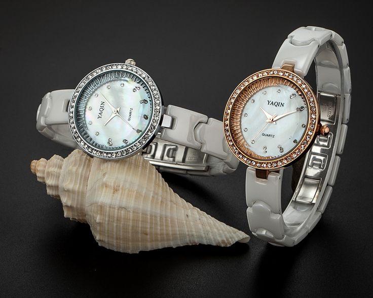 Элегантная Мода Женщины Белые Керамические Часы Кварцевые Sparkly Кристаллы Девушки Одеваются Наручные Часы Природный Shell Relojes NW7142