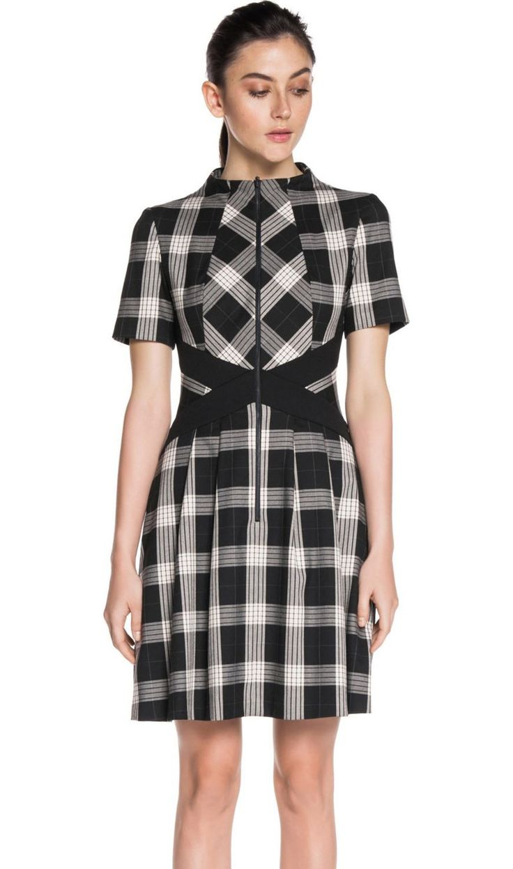 Cue Spliced Check Zip-Front Dress