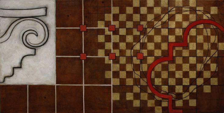 Merja Heino: Sakraali tila 2, 2015, öljy ja pigmentti kankaalle, 75x125 cm - Taidemaalariliiton teosvälitys 2016
