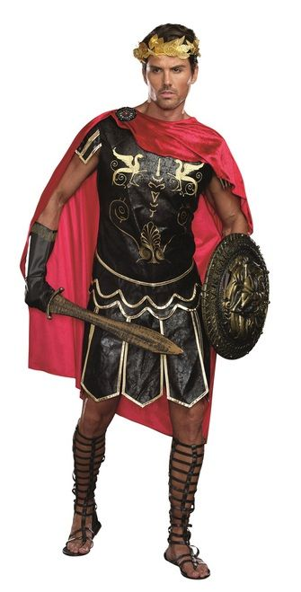 Mens Julius Caesar Warrior Costume - Lead your friends and warriors into battle with this Roman leader, Julius Caesar! This costume comes with a distressed faux leather tunic with cape, gold leaf headpiece and gauntlets. Great for Halloween, Roman themed parties or a costume for plays. Look for match Cleo costume for a great couples costume.