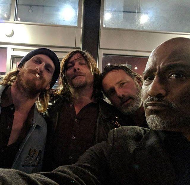 The Walking Dead: Austin Amelio, Norman Reedus, Andrew Lincoln, and Seth Gilliam (photo via Seth's Instagram)