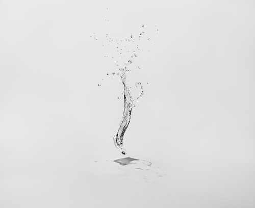 """Shinichi Maruyama    Water Sculpture, 2009    """"I am fascinated by the fragility and incompleteness that exists with all things beautiful. I throw water into the air, and in mid-flight it changes shape constantly, being pulled by gravity and bursting with surface tension. Each flight barely lasts more than a second. In each moment, the water becomes a beautiful figure which can be defined as a part man-made and part natural sculpture. I wanted to capture these beautiful impermanent water…"""