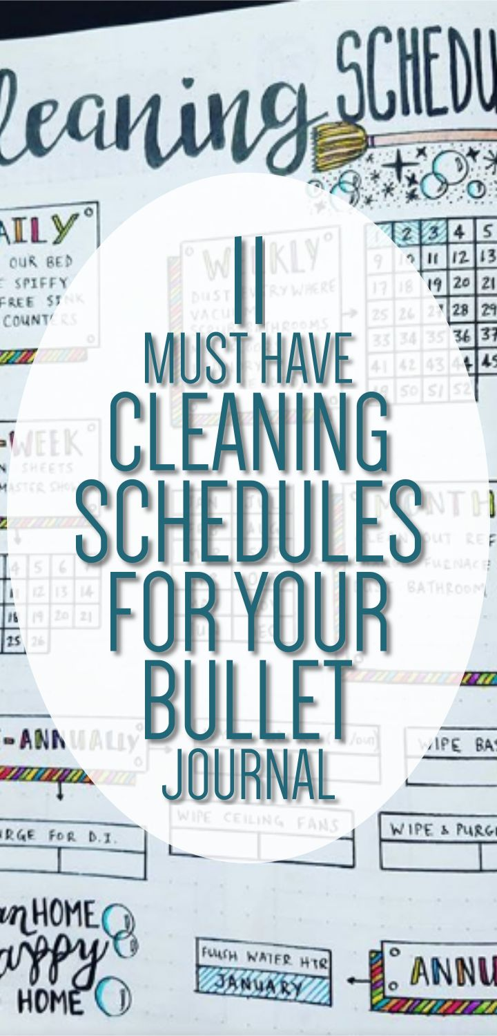 11 Must Have Cleaning Schedules for your Bullet Journal - Bullet Journal Ideas for Tracking Cleaning - Clean House Schedule, Bullet Journal Layouts, Bujo Ideas