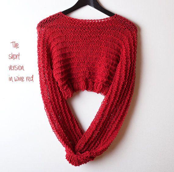 Rojo cultivo suéter del knit gruesas corto de mujeres por beWoolen