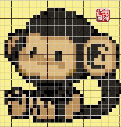 Schema punto croce Scimmietta 08