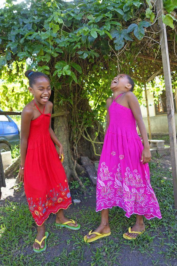 Bursting with laughter in tropical Vanuatu.