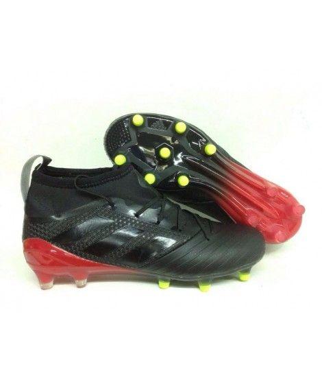 Adidas Ace 17.1 Primeknit Leather Firm Ground Menn Fotballsko Svart Rød Gul
