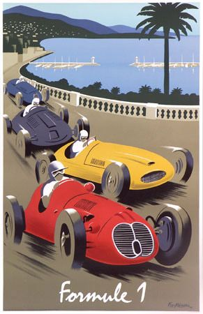 Formula 1 racing at Monaco in the old days.  The cars really looked like this th…