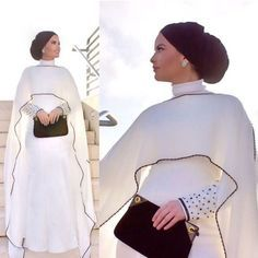 cape white dress hijab style, Hijab trends from the street http://www.justtrendygirls.com/hijab-trends-from-the-street/