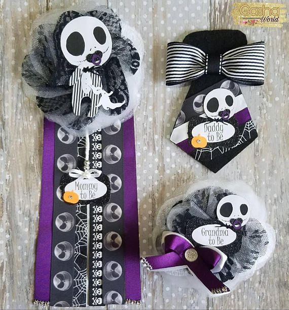 Jack Skellington Baby Shower Corsage/ Nightmare Before Christmas Pin/ Mommy  To Be/ Daddy