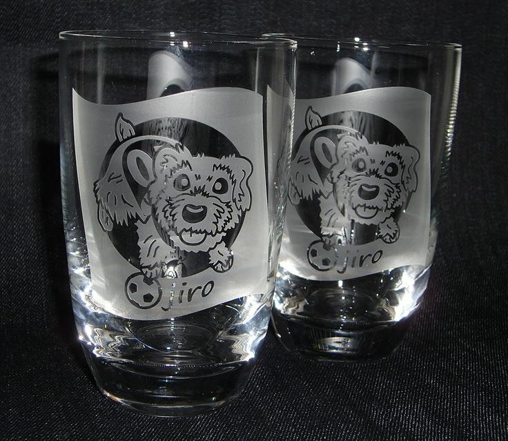 Pair glass ; Dog
