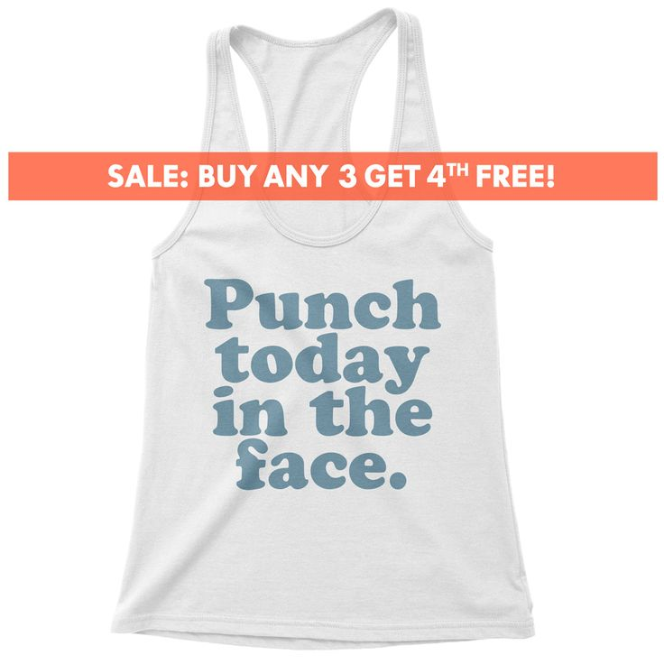 Punch Today In The Face Tank Top, Ladies Workout, Yoga Tank Top, Cute
