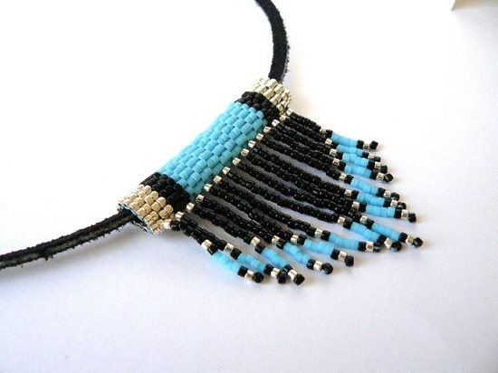 Turquoise Beadwork Necklace Tribal Fringe by BrownIrisCreations,