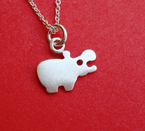Tiny Hippo Necklace sterling silver teen children small Kids Teen jewelry gift girl cute charm necklace mom Christmas in July via Etsy