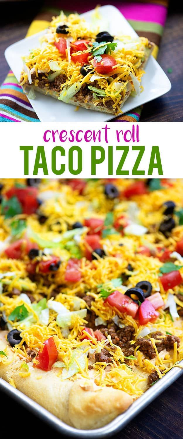 Crescent roll pizza topped off with all the best taco toppings! Perfect football food or appetizer for a get together! #snacks #appetizers #footballfo...
