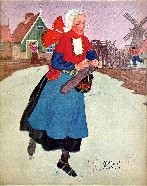 "15 jan 12 [Cover art    Needlecraft - The Magazine of Home Arts,"" December 1930] - knitting AND ice skating???!!! now THAT'S talent!"