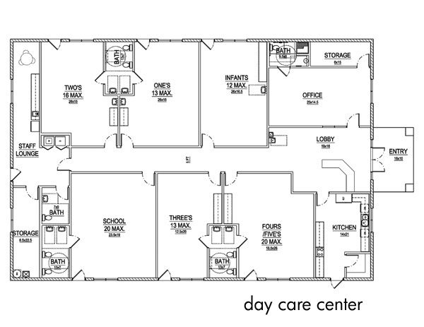 Kitchen Layout Templates 6 Different Designs: Day Care Center Layout