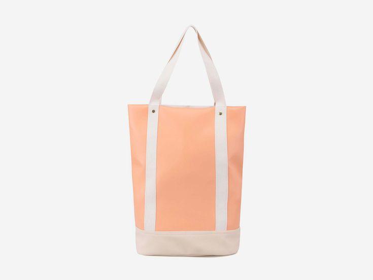 Plátěná bavlněná taška s koženkou Zoot & Mumray – světle oranžová (meruňková), městská taška do ruky se zipem