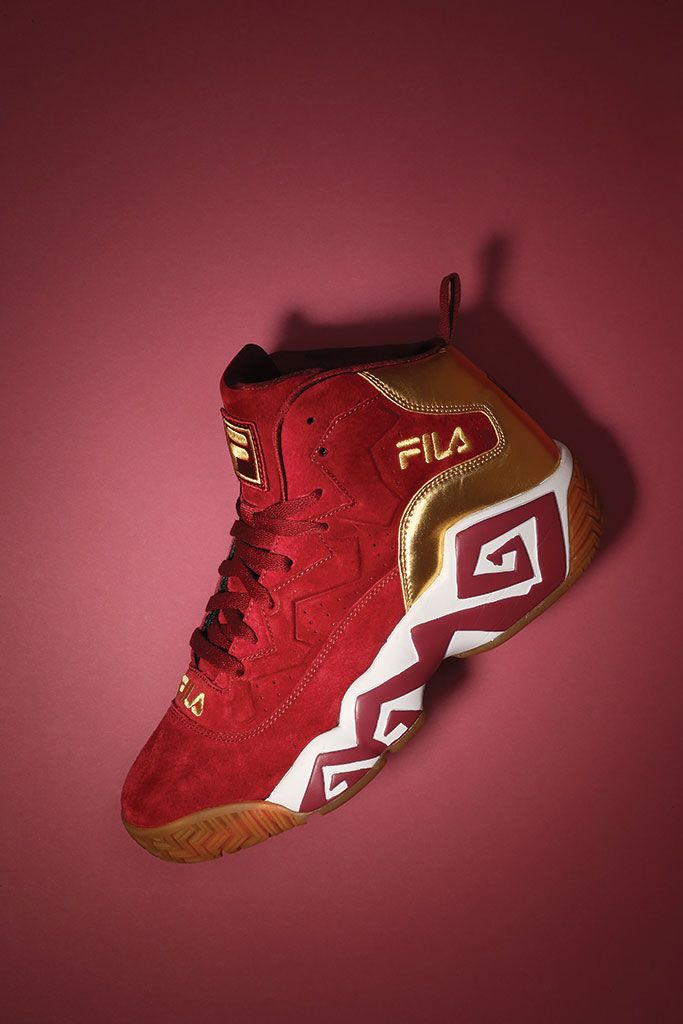 Fila Mens MB Leather Padded Insole Basketball Shoes